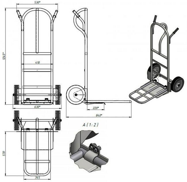 візок для перевезення вантажів своїми руками креслення