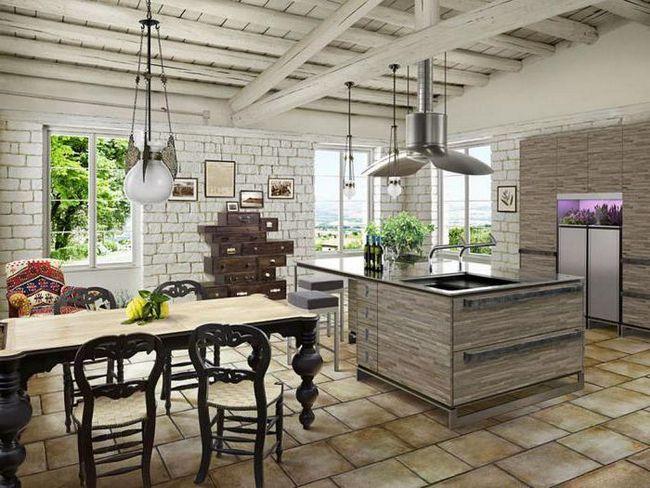 інтер'єр кухні в еко стилі