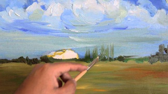 малюємо пейзаж маслом поетапно