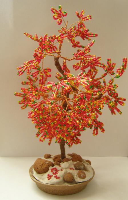 Фото - Невелике осіннє дерево з бісеру: схема, опис, майстер-клас для початківців