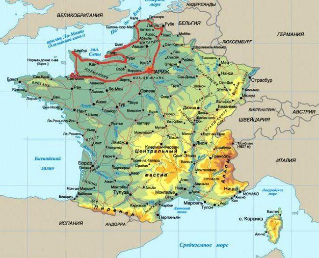нормандія на мапі