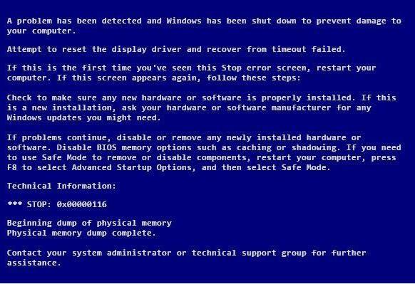 nvlddmkm.sys синій екран Windows 7 0x00000116