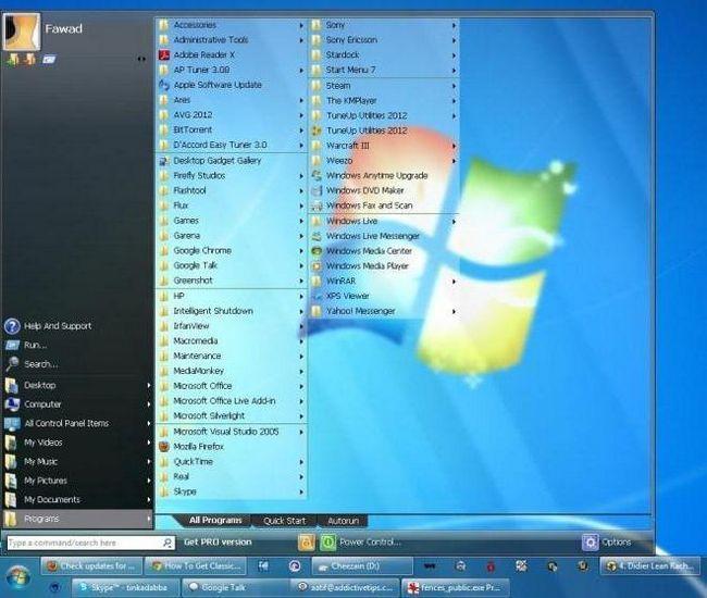 панель швидкого запуску windows 7