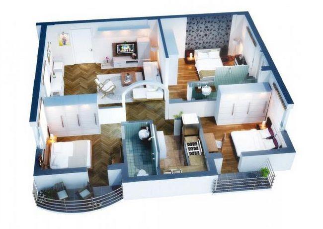 Планування одноповерхового будинку 12 на 12 з трьома спальнями