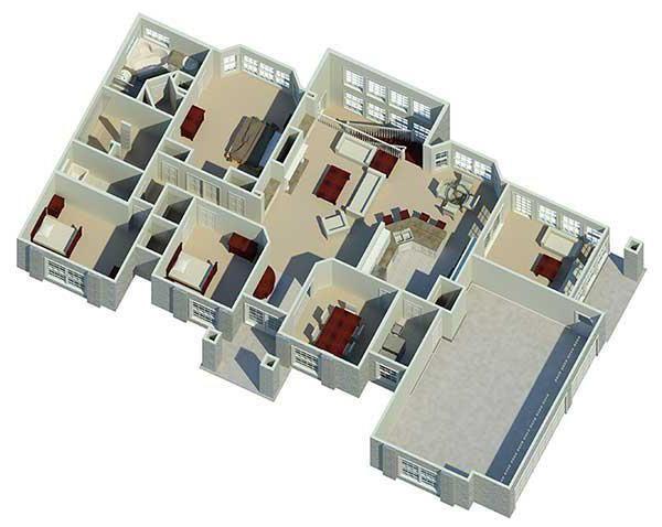 Планування одноповерхового будинку 12 на 12 з 3 спальнями