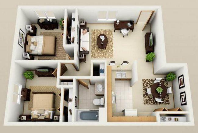 Планування одноповерхового будинку 12х12