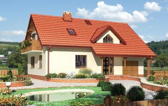 проект дерев'яного будинку з гаражем і мансардою