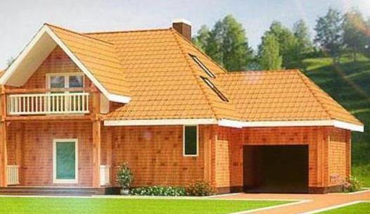 проект дерев'яного будинку з гаражем і мансардою до 100 кв м
