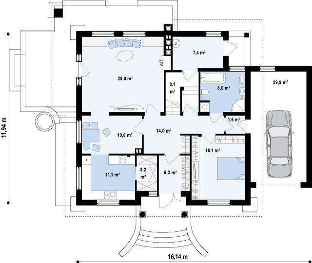 проект дерев'яного будинку з гаражем і мансардою до 200 кв м
