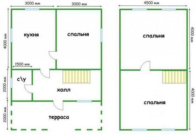 проекти дерев'яного будинку 6 на 8