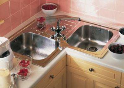 Фото - Розміри кутових мийок для кухні. Маленькі кутові мийки для кухні