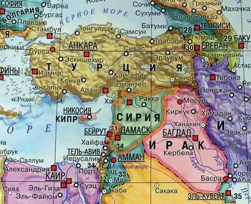 країни межують із Сирією