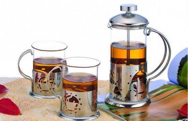 скляний заварювальний чайник з поршнем