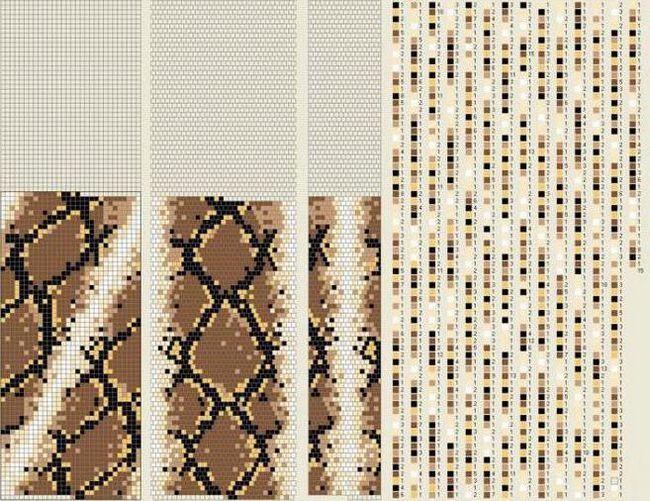 джгут з бісеру схеми плетіння малюнок змія